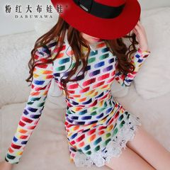 Autumn 2015 dress big pink doll temperament slimming fashion prints a new skirt length sleeve dress