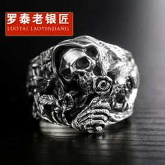 Chandos men''s rings domineering old silversmith s925 silver ring vintage Thai silver skull ring personalized jewelry