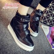 2015 sneakers girl Korean version of new autumn trend Velcro shoes PU high students help thick-soled platform shoes
