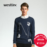 Westlink/West 2015 winter new style crewneck Turtleneck Long Sleeve men letters pattern knit sweater