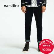 Westlink/meet 2015 winter new pure color jeans West slim feet blue Pant men's casual pants