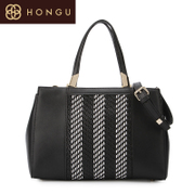 Honggu red Valley woman counters authentic classic black and white woven patterns leather Crossbody shoulder bag 6937