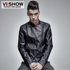 Viishow autumn winter leather men's slim leather Western jacket for men-men's coats slim