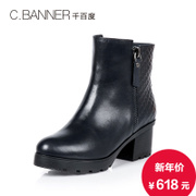 C.BANNER/for thousands of new 2015 winter leather boots women's boots in a warm wool chunky heels A5772505