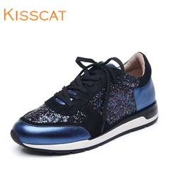Kiss cat autumn 2015 new ball head with the elevated shoes kisscat leather strap casual shoes
