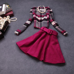 Autumn/winter 2014 new European fashion dresses, plaid wool two-piece suit #