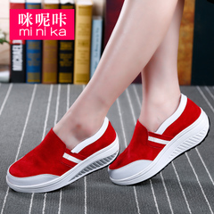 Microphone clicking New rocking autumn 2016 thick-soled casual shoes women Sneakers Shoes wedges flashes the lazy man shoes women
