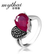 Thai silver jewelry 925 Silver fashion retro finger sent heart-shaped red corundum ring girls