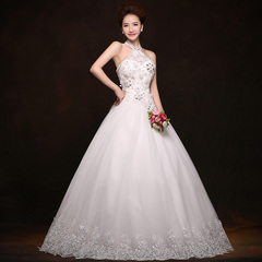 Purple Fairy Korean hanging neck lace bridal wedding gowns 2015 new snap in spring and summer diamond-studded flowers