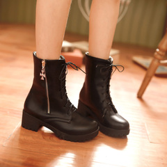 2015 new autumn and winter casual boots with round head with Martin boots with rough nude boots with zippers and versatile ankle boots