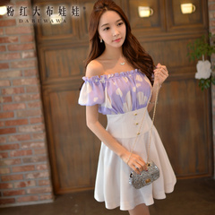 Summer pink dress doll printing 2015 Lady love stitching off the shoulder boat neck dress