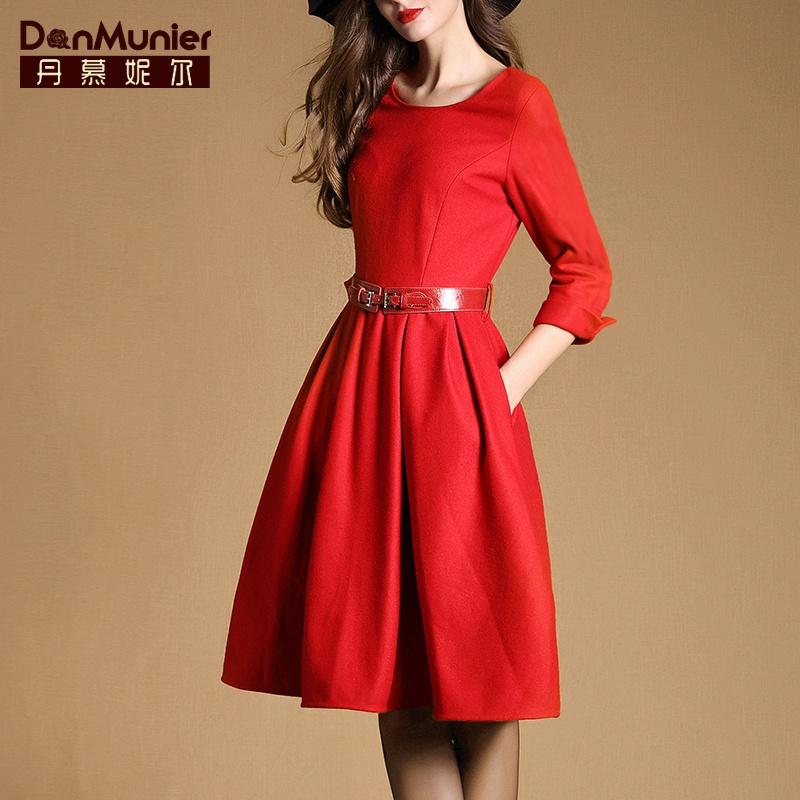 丹慕妮尔2015秋季新款高端薄毛呢连衣裙七分袖修身显瘦A字裙3360