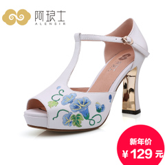 Specials summer National wind of Alang ultra high heel platform Sandals Jurchen skin Velcro sandal women 242