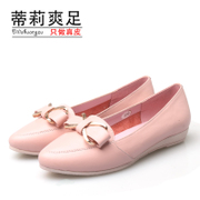 2015 spring sweet bow pointed flat new leather casual shoes asakuchi shoes Tilly cool foot