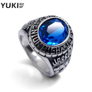 YUKI men''s ring finger titanium steel ring ring ring Sapphire European fashion design Club accessories
