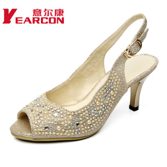 YEARCON/er Kang shoes 2015 new authentic stiletto yuzui elegant rhinestone women's sandals