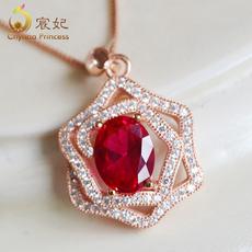 宸妃珠宝 1.04ct天然彩色鸽血红宝石吊坠女18k玫瑰金项链彩宝定制