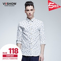 2015 spring/summer viishow new white cotton shirts printed cropped sleeves shirt shirt slim