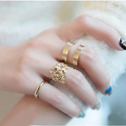 Korean version of the new vintage leaves '' shape female tail joint ring ring ring set of three fashion ring