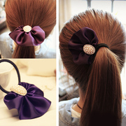 Colourful chequered headdress Korea hair accessories-grade is the rhinestone hair tie rope Korea jewelry F0021
