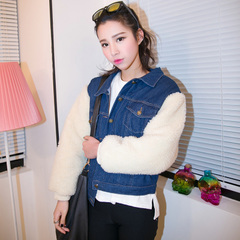 QUEENZZ Europe and the socialite winds 2015 new spring clothing cropped cashmere sleeveless oversize denim jacket