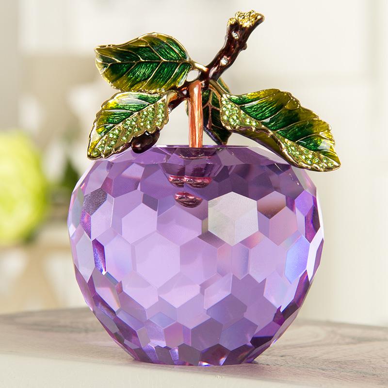 水晶苹果摆件创意家居装饰生日小礼品平安夜圣诞节礼物送女友女生