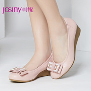 Zhuo Shini spring new pumps, round-headed female sweet Velcro shoes casual wedges heels shoes 143152080