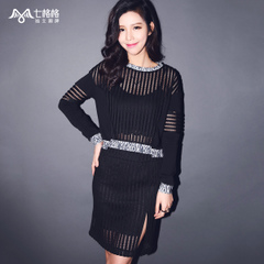 Seven space space OTHERMIX2015 spring stripes new Lacy black turtleneck t cropped sweater women