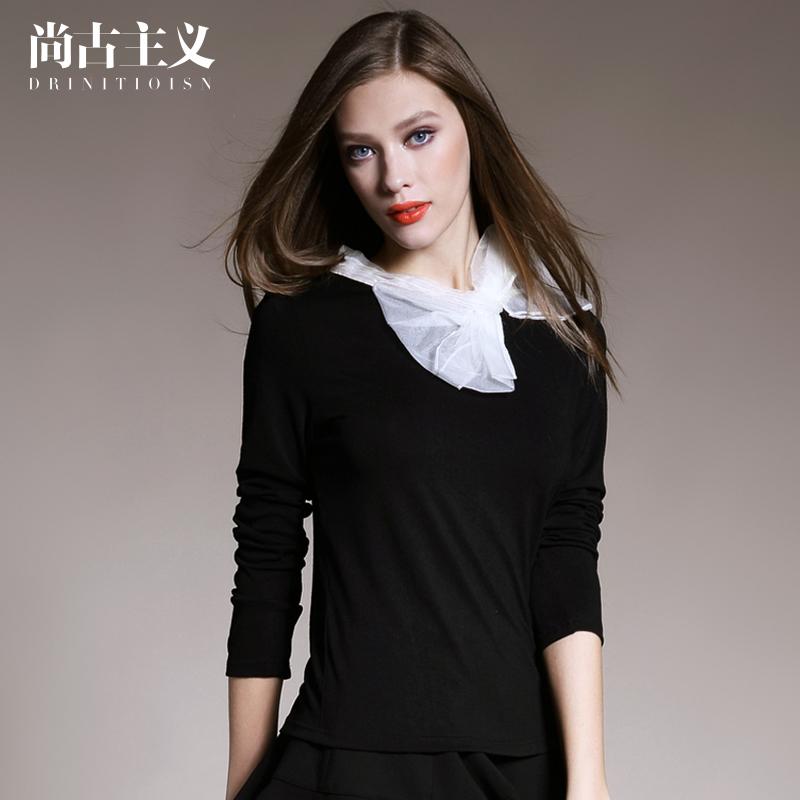 秋冬女装新款蝴蝶结套头针织衫女毛衣长袖纯色打底衫