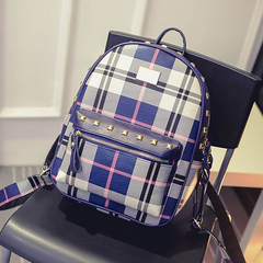 About female beauty for 2015 new Korean wave in autumn and winter fashion rivet backpack Plaid backpacks student bags travel bags