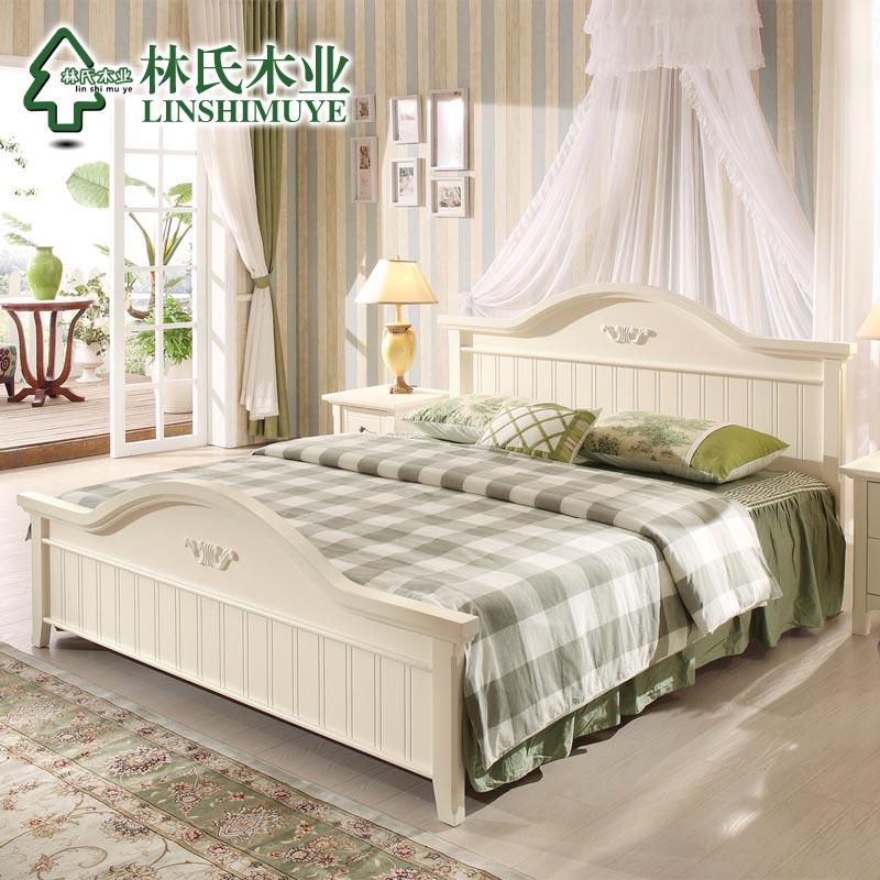 林氏木业白色板式床韩式风格田园床1.5米储物公主床双人床家具A3产品展示图1