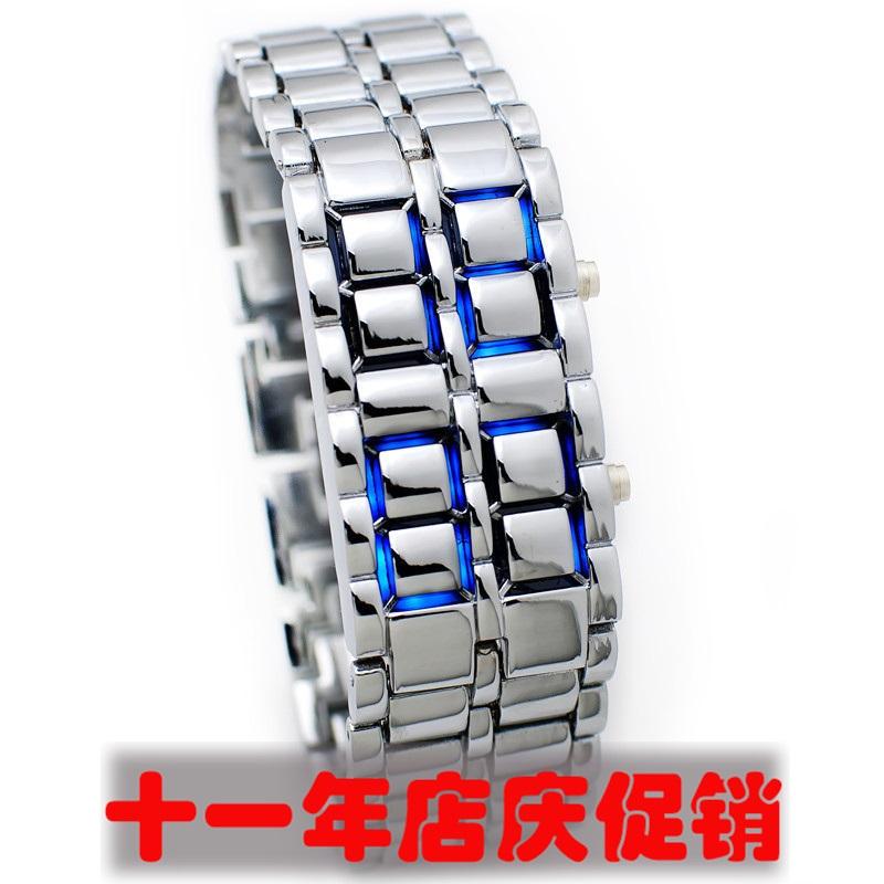 包邮Skmei居家LED女百搭潮流熔岩电子表男品牌流行手表(防水)