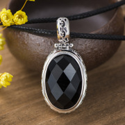 Thai Silver 925 natural black agate pendant new fashion Korean temperament gemstone pendant wave
