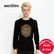 Westlink/West fall 2015 new printed black cotton knit crew neck men's sweater