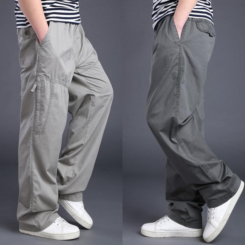 男士休閑褲秋季加肥加大碼長褲厚款松緊腰男褲子多口袋寬松工裝褲