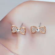 Ya na jewelry ear acupuncture small bow Stud Earrings diamond set openwork accessories