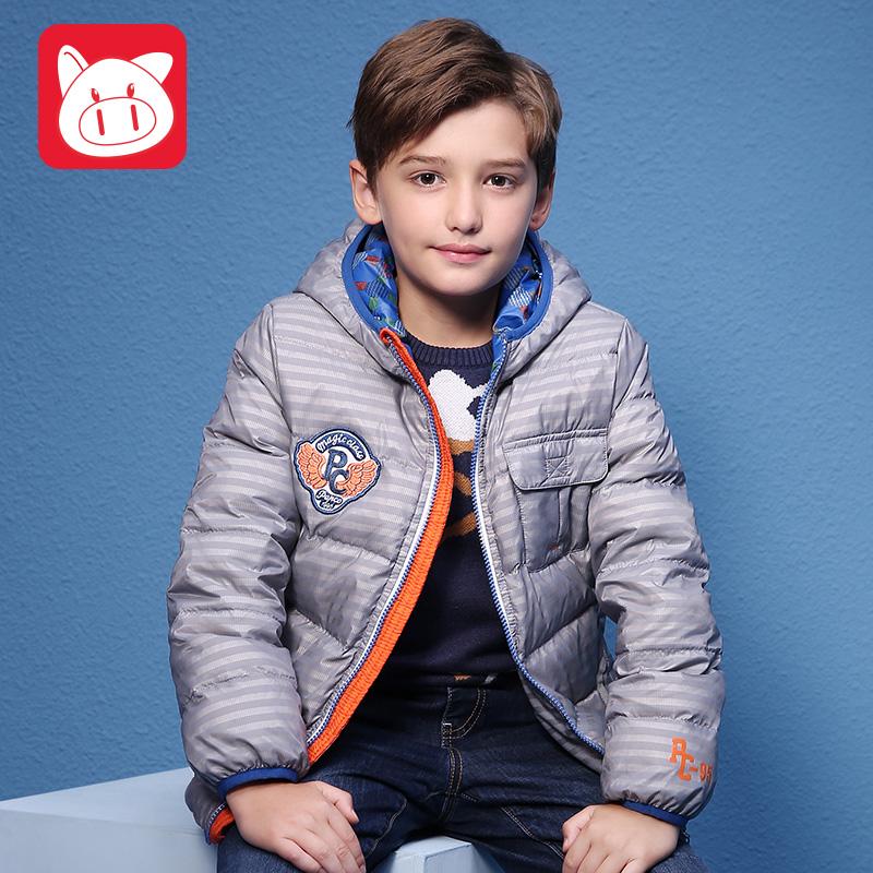 小猪班纳童装儿童 中大童男童连帽羽绒服冬季新款拉链衫潮
