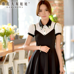 Shirt women/summer doll summer dress coat with pink gem slim bubble short-sleeved white shirt