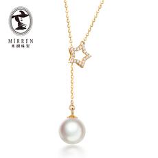 米润珠宝 女款日本akoya海水珍珠吊坠  18K金镶钻石项链 星星时尚