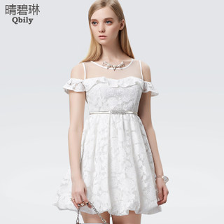 Sunny Linda 2015 new spring clothing ladies skirts ladies blue lace strapless falbala slim dress in summer