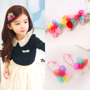 Know NI Korea children''s flower hair band girls '' hair band hair-Juan yarn jewelry flower hair tie rope end
