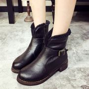 2015 new Korean version of warm winter shoes with chunky heels and velvet boots side zipper flashes upset in women's boots