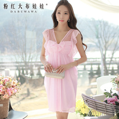 Summer pink dress dolls new women's dreamy temperament v-neck sleeveless 2015 summer dress