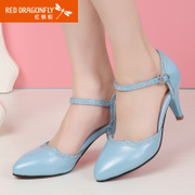 Red Dragonfly leather women's shoes spring 2015 new genuine suede rhinestone fashion casual high heel shoes