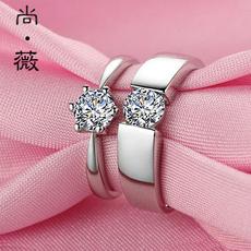 情侣戒指 925银一对男女对戒指环仿真钻戒子韩版饰品礼物婚戒刻字