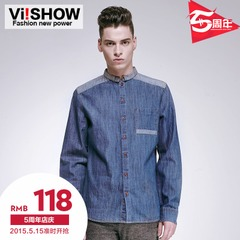 Viishow2015 spring denim shirt size mens slim fit denim shirt blouse stitching tide