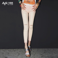 Seven rattles OTHERCRAZY2015 new prewashed worn pants with bound feet in summer nine-ripped jeans women