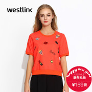Westlink/West fall 2015 the new coat of arms embroidered prints loose crew neck short sleeve turtleneck women's sweater