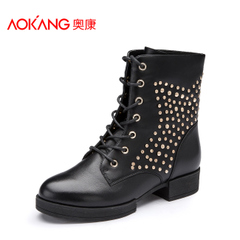 Aokang shoes fall/winter trend of the new Europe and the cross strap, Martin short boots with round-headed woman in boots