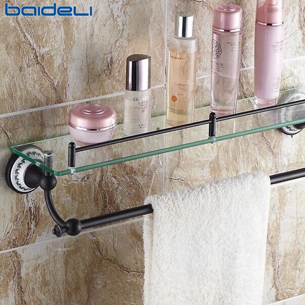 佰德利 黑古铜仿古单层化妆品架 欧式毛巾架 浴室玻璃台置物架